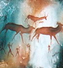 Buchmen rock arts with hunters and antelope